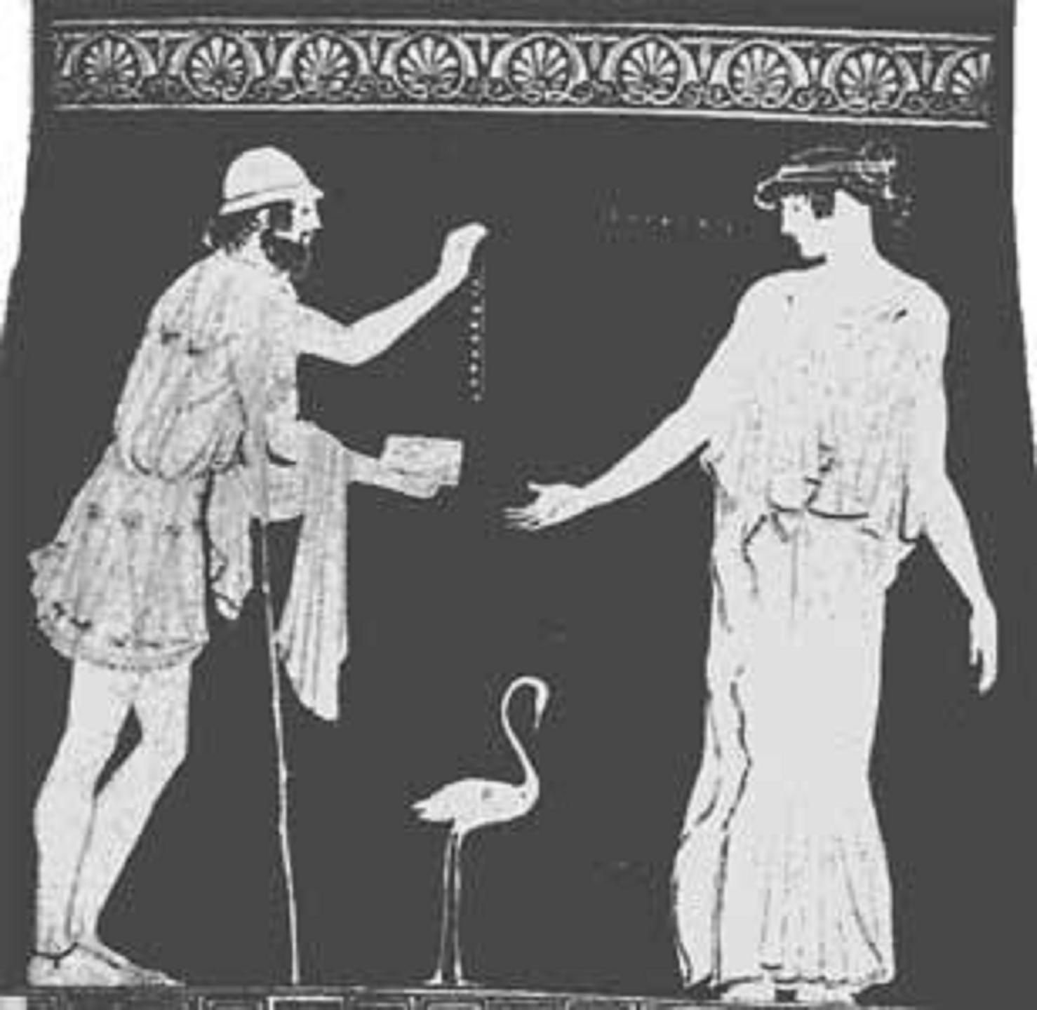 Ὁ Πολυνείκης προσφέρει στὴν Ἐριφύλη περιδέραιον. 5ος αἰών.