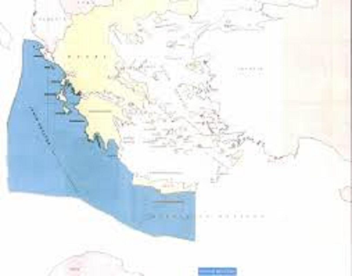 Ο χάρτης όπου απεικονίζεται η έκταση όπου θα πραγματοποιηθούν οι έρευνες με βάση την αρχή της μέσης απόστασης των εμπλεκομένων μερών