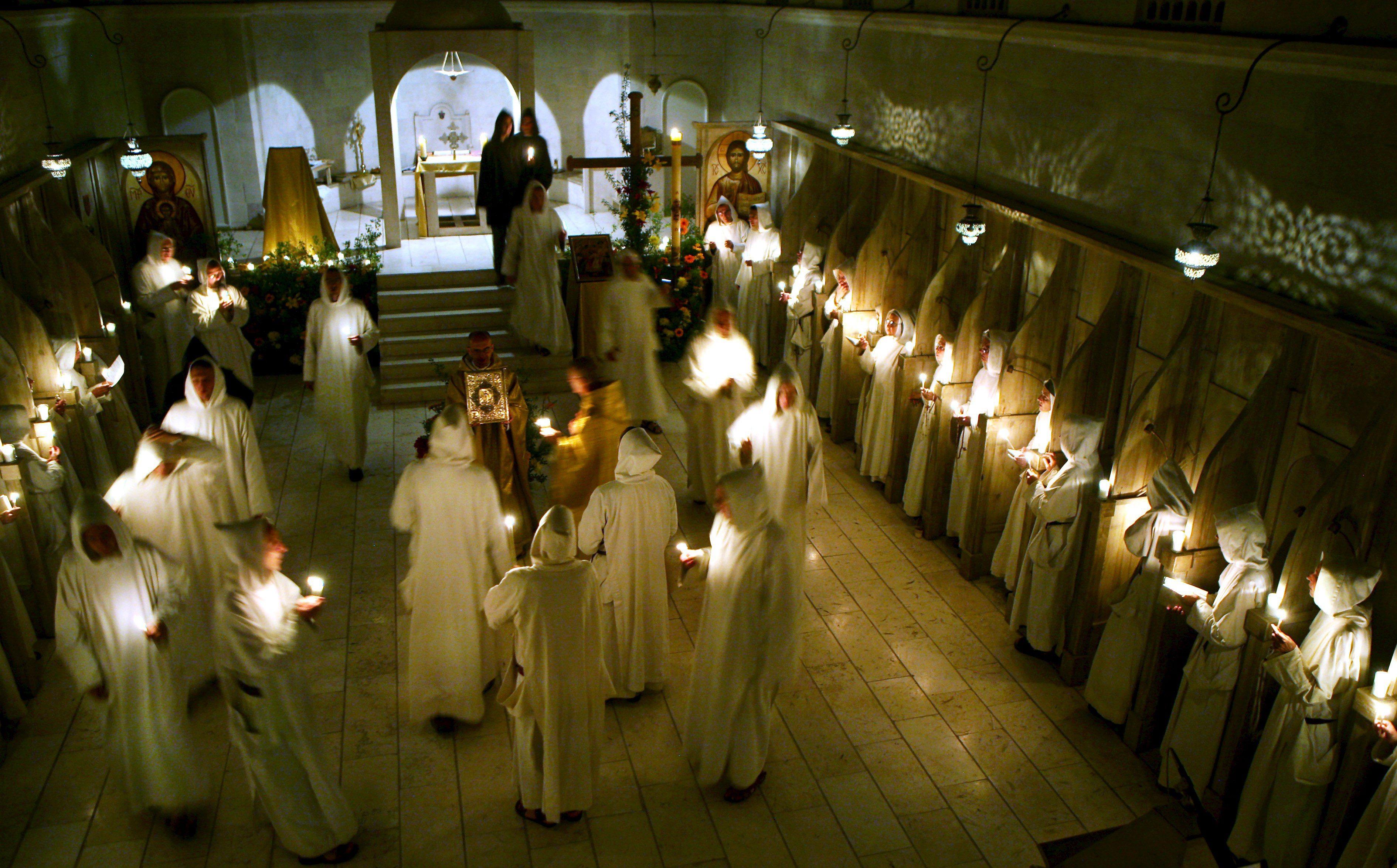 Easter mass celebration in Monastic Family of Bethlehem church in Beit Gemal