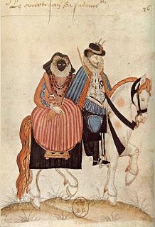 Ἡ μορέττα.  watercolor from Habits de France published in 1581