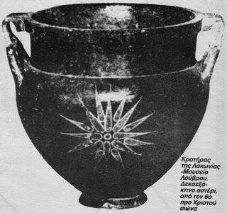 6ος αιωνας π.Χ.: .Αμφορέας της αρχαίας Λακωνίας (Σπάρτη) που δείχνει καθαρά στο κέντρο του, τον Ήλιο της Βεργίνας στην σημερινή του μορφή. Ο αμφορέας, σήμερα βρίσκεται στο μουσείο του Λούβρου στο Παρίσι.