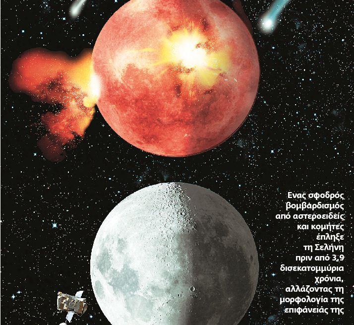 Ενας σφοδρός βομβαρδισμός από αστεροειδείς και κομήτες έπληξε τη Σελήνη πριν από 3,9 δισεκατομμύρια χρόνια, αλλάζοντας τη μορφολογία της επιφάνειάς της