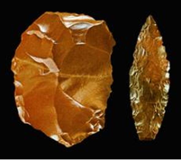 Παλαιολιθικά εργαλεία : Λίθινο ξέστρο και αιχμή