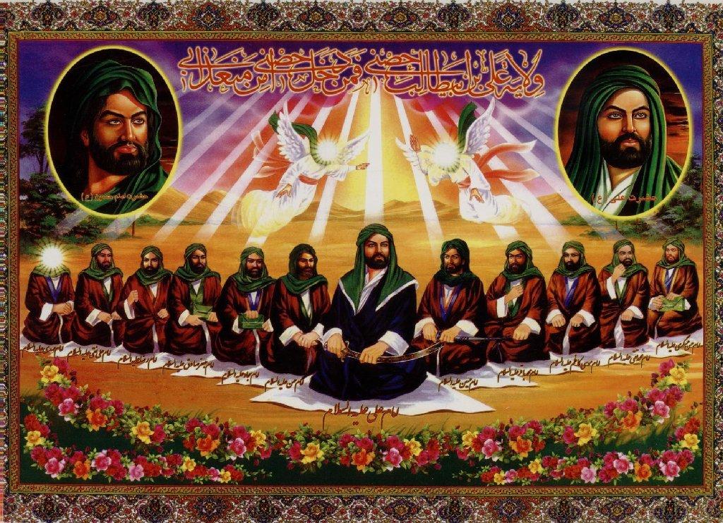 Oι Αλεβίτες πιστεύουν στον Ιμάμη Αλί, ο οποίος εικονίζεται εδώ με τους λοιπούς ένδεκα ιμάμηδες. Δώδεκα ιμάμηδες, κατ' αντιδιαστολή των δώδεκα μαθητών του Ιησού.