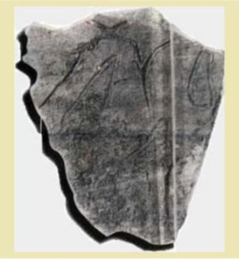 σπήλαιον Γιούρα Βορείων Σποράδων, 5000-4500 παχ (6500-7000 ἐτῶν) Διακρίνονται τὰ γράμματα Α, Υ, Δ