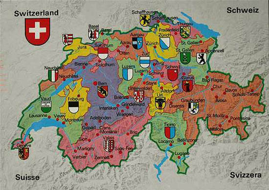 Switzerland is divided into 26 cantons, each of which enjoys considerable autonomy.