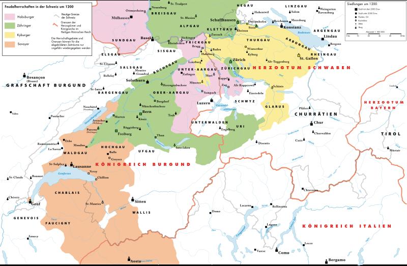 Ἡ αὐτοκρατορία τῶν Ἀψβούργων περὶ τὸ 1200.