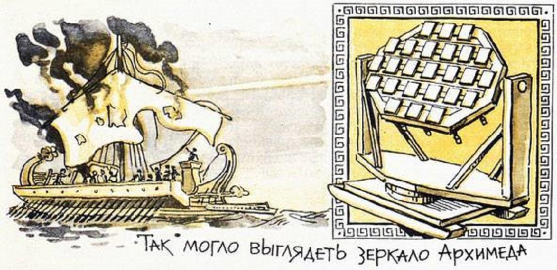Ὅταν ὁ Ἀρχιμήδης ἔκαιγε τὰ πλοῖα τῶν ἐχθρῶν.