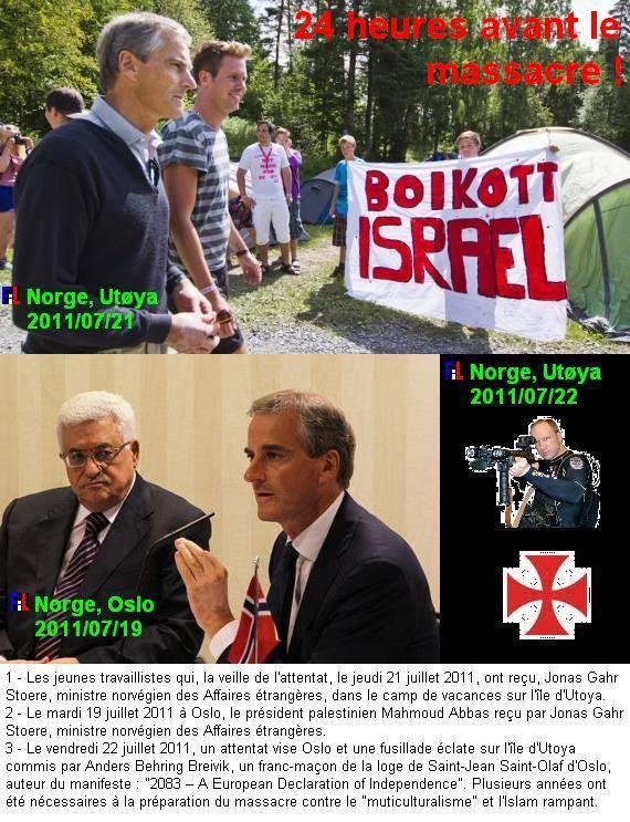Λίγες ώρες πριν ο πράκτορας των Ισραηλινών σκορπίσει τον θάνατο σε νεανική κατασκήνωση των σοσιαλιστών της Νορβηγίας... ο αρχηγός των Νορβηγών σοσιαλιστών είχε συναντηθεί με Παλαιστίνιο ηγέτη. Το πανό στην κατασκήνωση ζητούσε να γίνει μποϊκοτάζ στο Ισραήλ. Την επόμενη ημέρα οι σιωνιστές έστειλαν το σαφές μακάβριο μήνυμά τους.