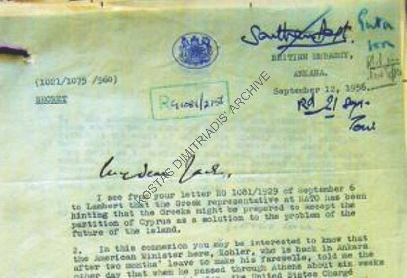 Ἀπὸ τὸ 1956 προετοίμαζαν τὴν διχοτόμησιν τῆς Κύπρου!!!