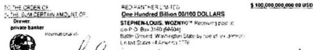 Εικόνα 2: Λεπτομέρεια του «ομολόγου» όπου φαίνεται το όνομα του Stephen Louis Wozny. Ο κατασκευαστής του πλαστού χρεογράφου, το βασίζει σε ένα μονομερές τιμολόγιο προς το δικηγορικό σύλλογο για τη χρήση του trademark – ονόματος του στην απόφαση διαγραφής του. Με το τιμολόγιο αυτό ζητούσε 2.876.526.500.000 δολάρια.