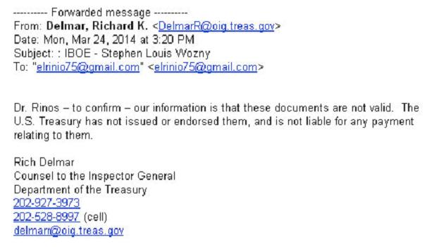 Εικόνα 5. Η απάντηση από το γραφείο του γενικού επιθεωρητή του Υπουργείου Οικονομικών της Αμερικής, ότι τα «ομόλογα» Σώρρα είναι απάτη, όπως προωθήθηκε στο ΤΧΣ.