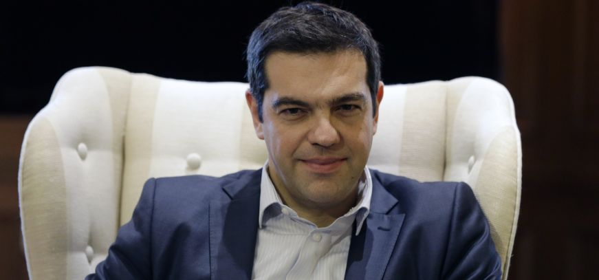 """Greece's Prime Minister Alexis Tsipras meets Governor of the Bank of Greece Yannis Stournaras at Maximos Mansion in Athens, Friday, March 6, 2015. European Central Bank head Mario Draghi said the ECB """"stood ready"""" to once again permit Greek banks to use junk-rated Greek government bonds as collateral to get credit from the ECB. That would happen as soon as the bank assesses that Greece is likely to successfully complete a creditor review of its progress. (AP Photo/Thanassis Stavrakis)"""
