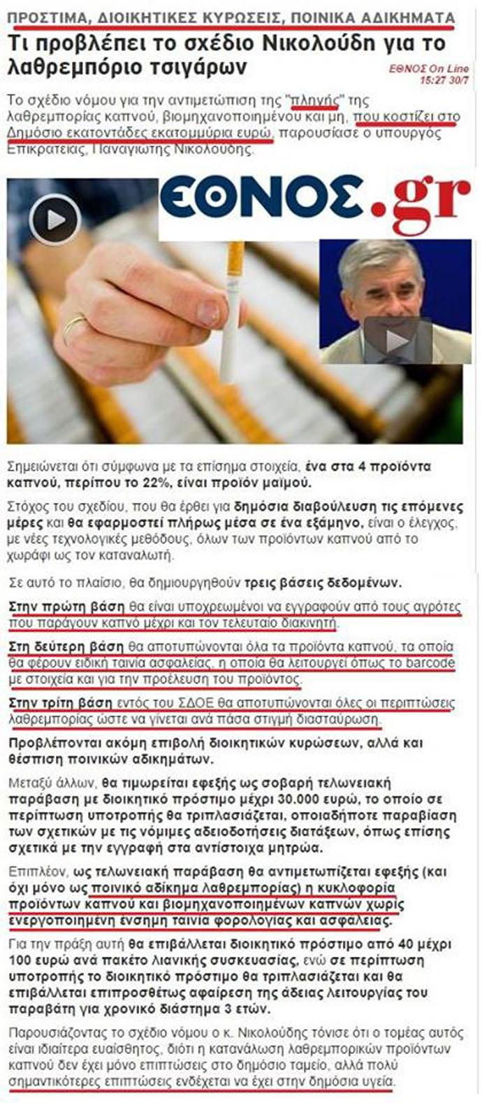 Γιατί ἐλέγχουν τόν καπνό κι ὄχι τόν ...μαϊντανό;
