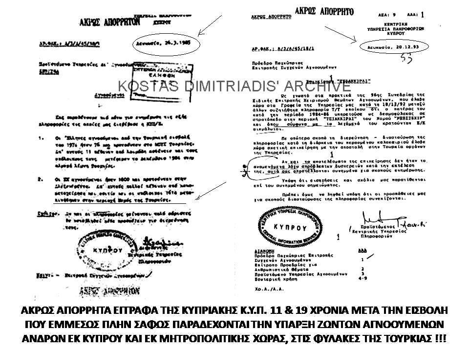 Οἱ ...«ἀνύπαρκτοι» ἀγνοούμενοι τῆς κυπριακῆς τραγῳδίας.