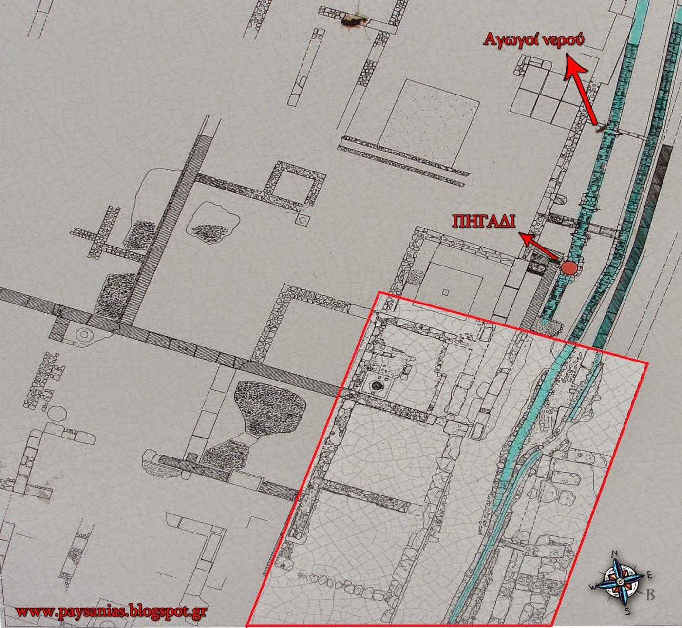 Τοπογραφικό σχεδιάγραμμα του οικοπέδου. Στο κόκκινο πλαίσιο τα αρχαία που διασώθηκαν