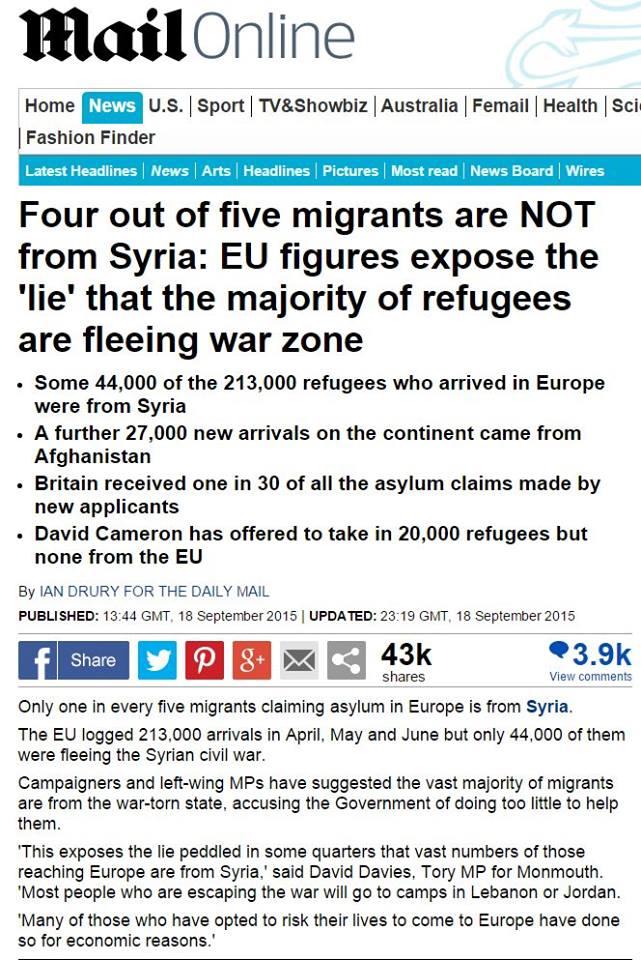 Οἱ τέσσερις στοὺς πέντε πρόσφυγες ΔΕΝ εἶναι Σύριοι!!!2