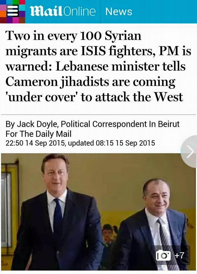 Δύο στούς ἑκατό πρόσφυγες εἶναι μέλη τῆς ISIS;