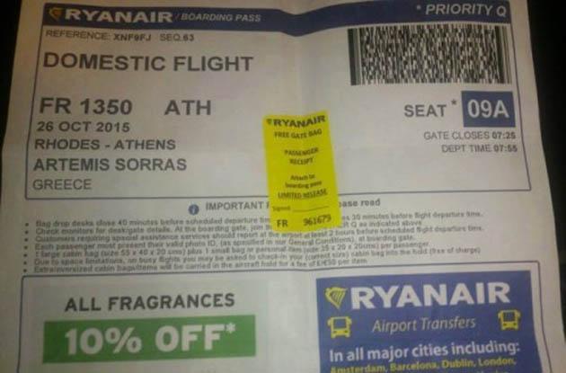Το εισιτήριο με το οποίο έφυγε ο Σώρρας από την Ρόδο, όπως το κοινοποίησε η σελίδα της οργανώσεως Alfeiospotamos