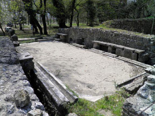 Marble toilet seats in ancient public toilets, Dion, Greece