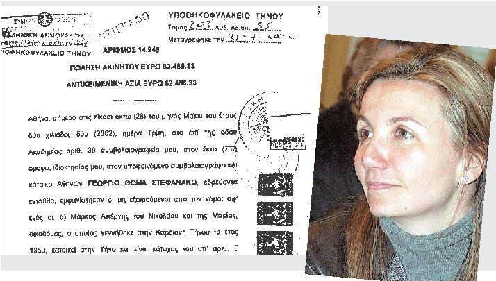 Το συμβόλαιο αγοράς αγροτεμαχίου, από την κυρία Μαρέβα Γκραμπόφσκι (φωτογραφία) στις 28 Μαΐου 2002, οκτώ στρεμμάτων στην θέση Χαλακιά Άγιος Πέτρος του Δήμου Εξωμβούργου, στο οποίο αργότερα οικοδομεί μια παραδοσιακή εξοχική κατοικία