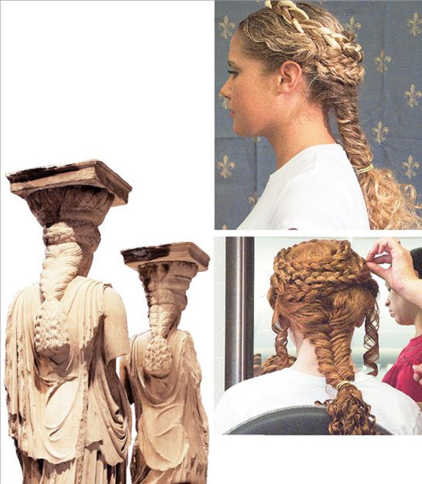 Επάνω, οι βόστρυχοι των μαλλιών συστρέφονται με χάρη και οι πλεξίδες σχηματίζουν στεφάνια στο κεφάλι της νεαρής Αμερικανίδας που είναι χτενισμένη όπως οι αρχαίες ελληνίδες Καρυάτιδες. Αριστερά, οι μαρμάρινες Καρυάτιδες όπως εκτίθενται στο νέο Μουσείο της Ακρόπολης
