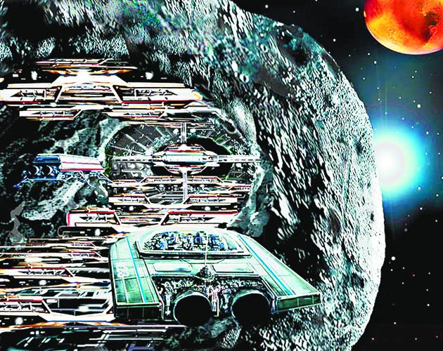 Καλλιτεχνική απεικόνιση αποικίας στο εσωτερικό ενός αστεροειδούς.