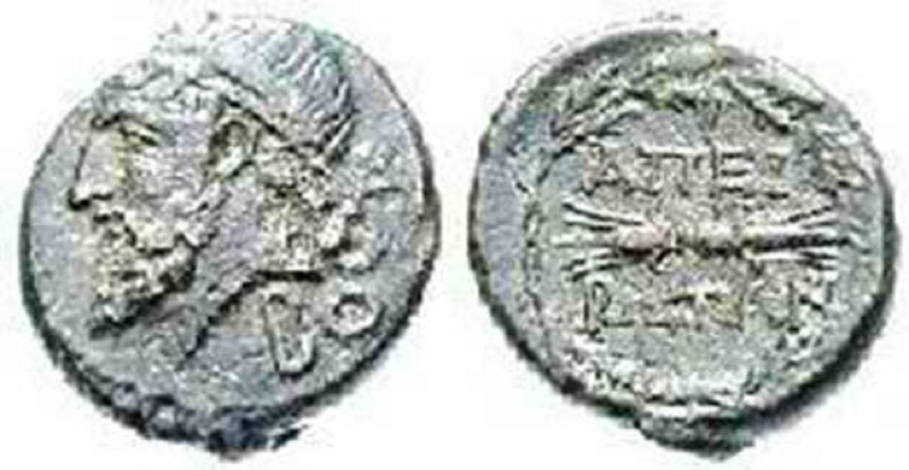 Νόμισμα της Ηπείρου, του 238 π.Χ. και παλαιότερα. Εικονίζεται ο Δωδωναίος Ζευς στεφανωμένος με φύλλα βελανιδιάς. Στην πίσω πλευρά εικονίζονται δύο κεραυνοί σε σχήμα αναστρόφων «Ε» και η λέξη «ΑΠΕΙΡΩΤΑΝ».