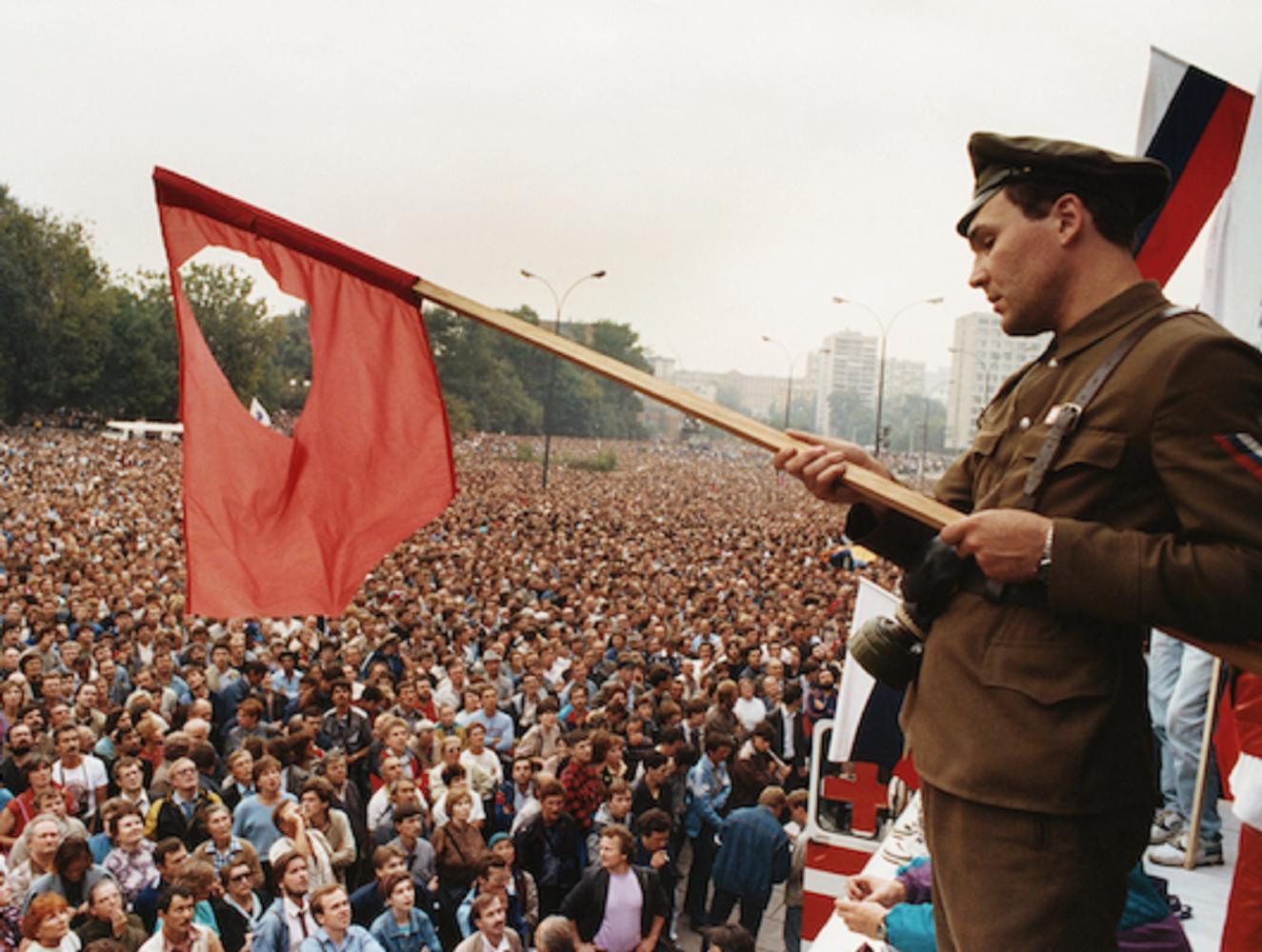 Protesting Overthrow of Mikhail Gorbachev