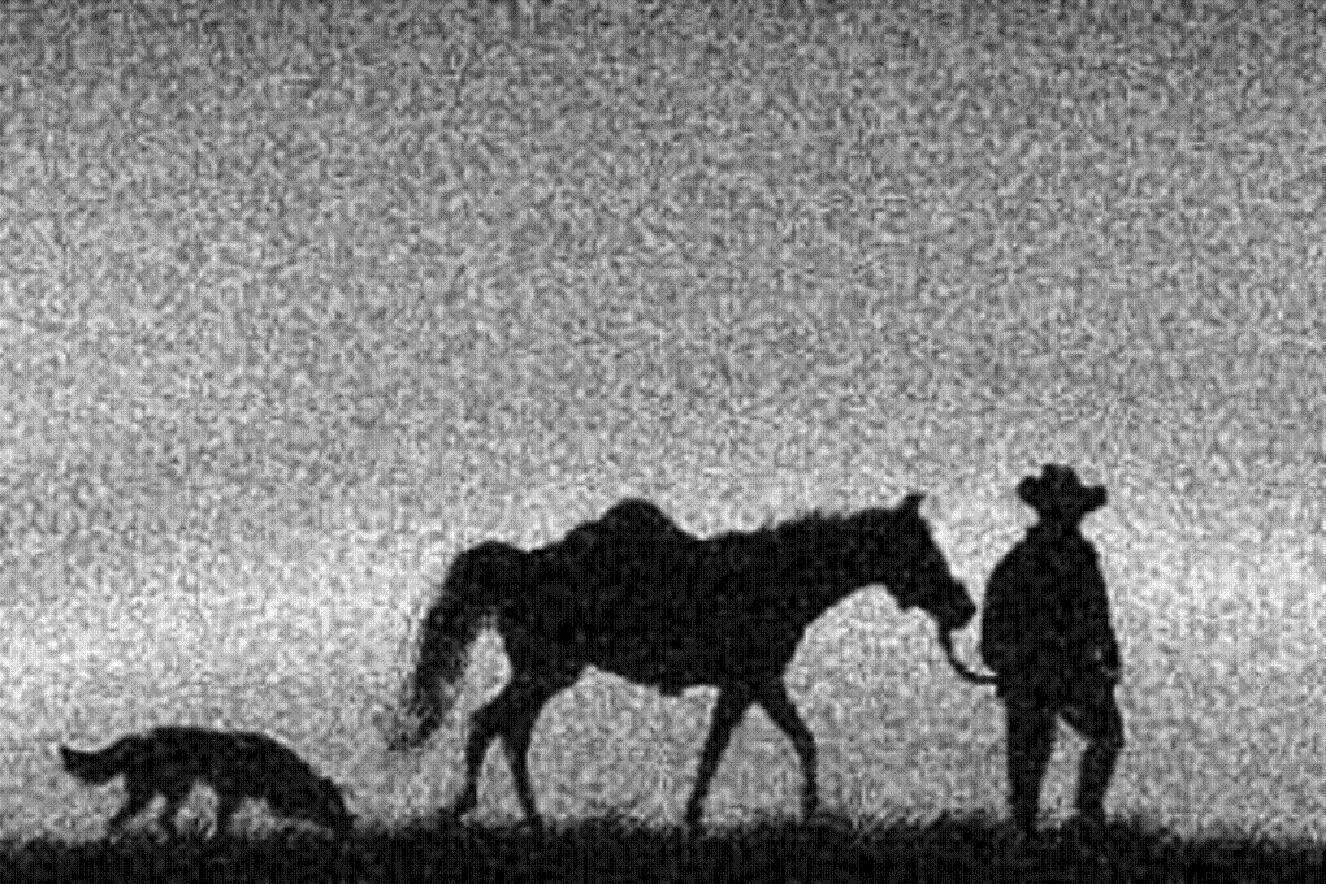 Ὁ διαβάτης, τὸ ἄλογο κι ὁ σκύλος.