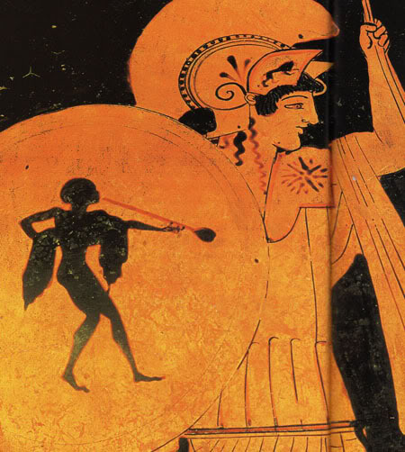 480 π.Χ.: Η θεά Αθηνά με το σύμβολο στον ώμο.