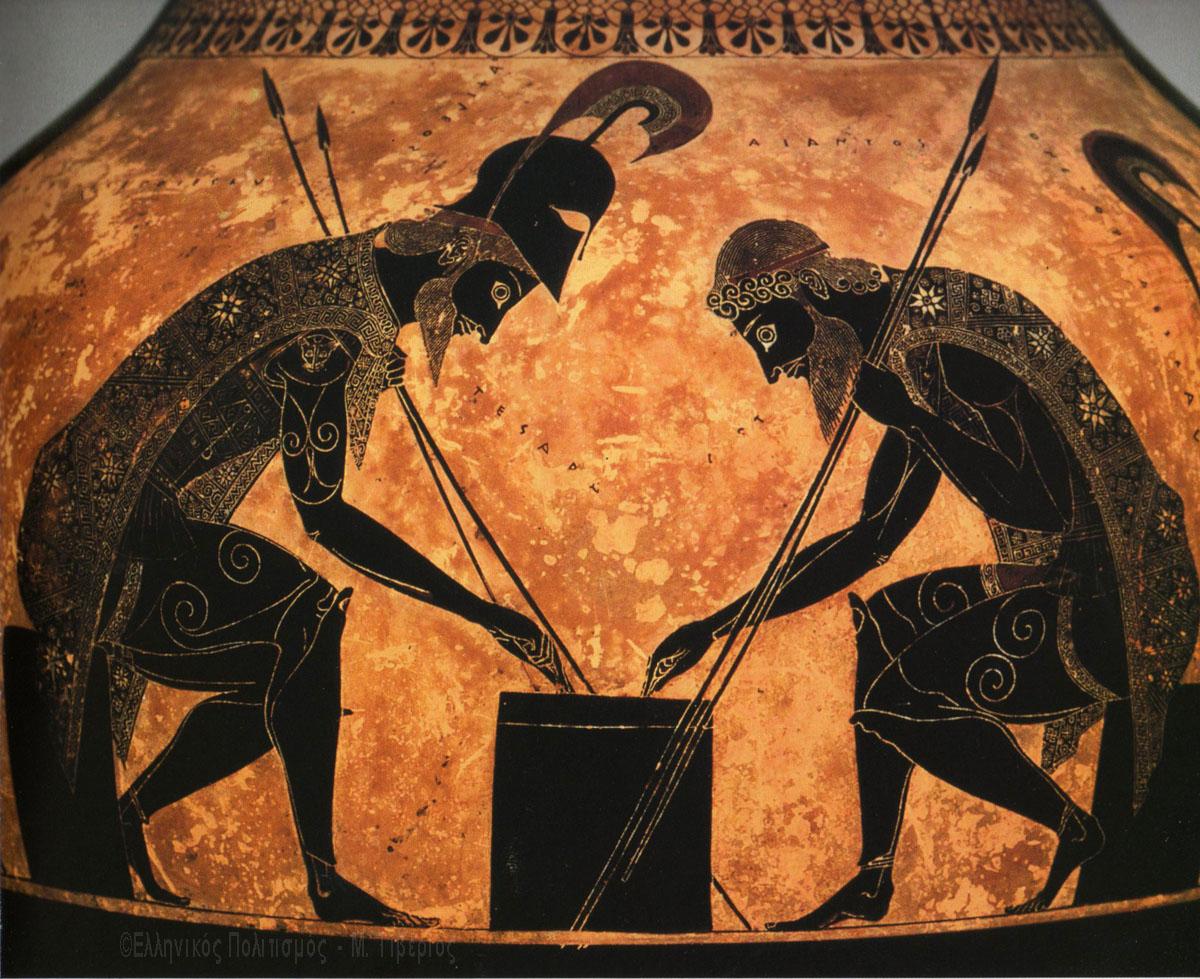6ος αιώνας π.Χ.: Ο Αχιλλέας και ο Αίας ξεκουράζονται κατα την διάρκεια του Τρωικού πολέμου, με ένα παιχνίδι ζαριών. Στις ενδυμασίες τους υπάρχουν πολλά σύμβολα του Ηλίου με 8 ακτίνες.