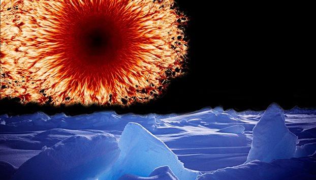 Η εξαφάνιση των ηλιακών κηλίδων (επάνω αριστερά, «πορτρέτο» μιας εξ αυτών από το τηλεσκόπιο της Σουηδικής Ακαδημίας Επιστημών) μας υπόσχεται απότομο βούτηγμα σε Εποχή Παγετώνων