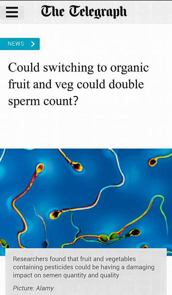 Τά βιολογικά προϊόντα διπλασιάζουν τόν ἀριθμό τῶν σπερματοζωαρίων;
