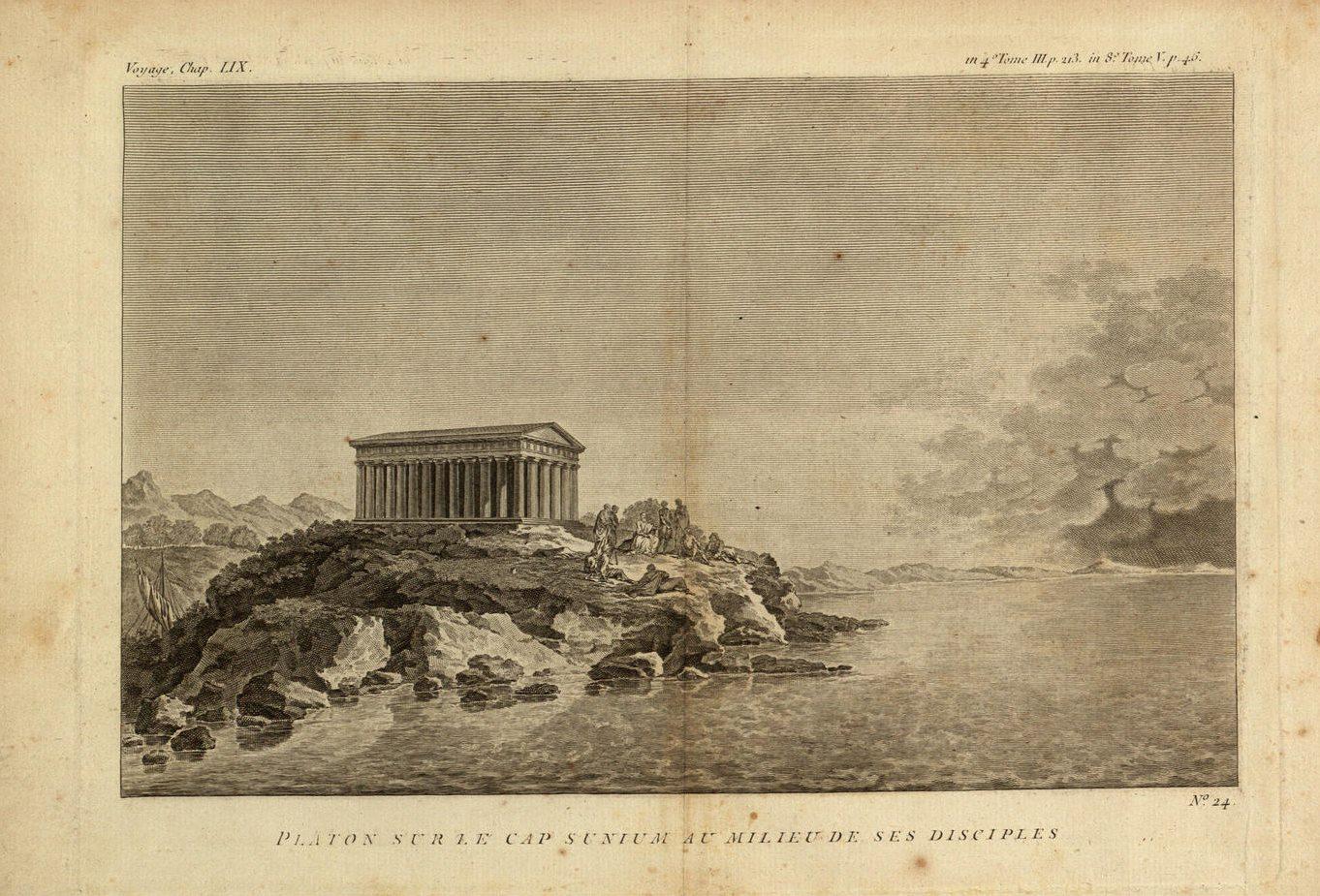 Platon sur le Cap Sunium au milieu de ses disciples. Plato on Cape Sunium among his disciples.