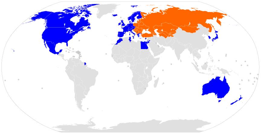 Κόσμος – οι δανείστριες χώρες της τράπεζας EBRD (με μπλε), καθώς επίσης οι δανειζόμενες (με πορτοκαλί), στα πλαίσια της ενισχύσεως των χωρών της πρώην Σοβιετικής Ενώσεως.