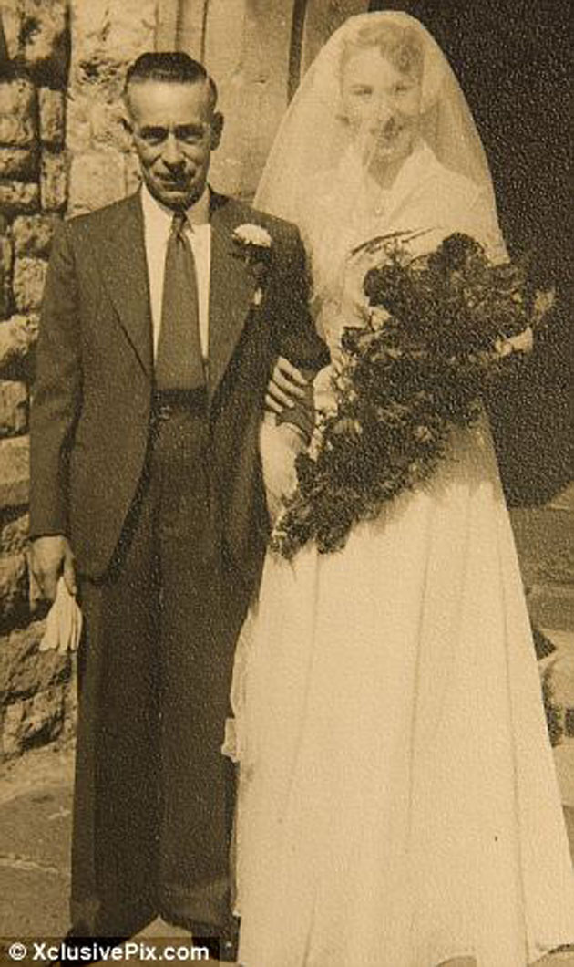 PHOTO: Kate Middleton's Jewish grandmother Dorothy Goldsmith nee Harrison and Jewish great grandfather Thomas Harrison whose wife was Jew Elizabeth Temple both of whom attended Carol's mother's wedding to Jew Ronald Goldsmith in August 1953. Elizabeth Temple's ancestors were the Jewish Myers family, traditional English Jews in the 19th century according to the Daily Mail.